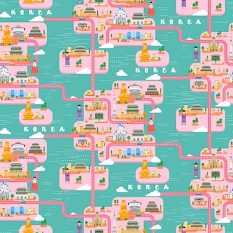 Südkorea reisekarte nahtloses musterdesign