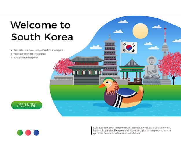 Südkorea tourismus banner mit klickbaren lesen sie mehr schaltfläche bearbeitbaren text und zusammensetzung der doodle bilder illustration