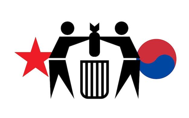 Südkorea und nordkorea zerstören minen an der grenze zwischen den ländern. konzept des friedens
