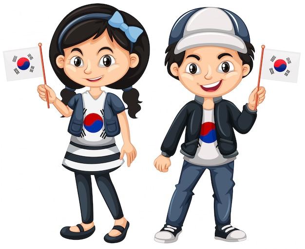 Südkoreanischer junge und mädchen mit flaggen