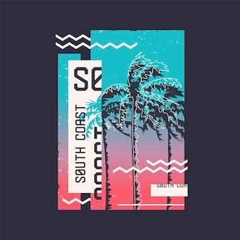Südküste. grafisches t-shirt design zum thema sommer, urlaub, strand, meer, tropen. vektor-illustration.