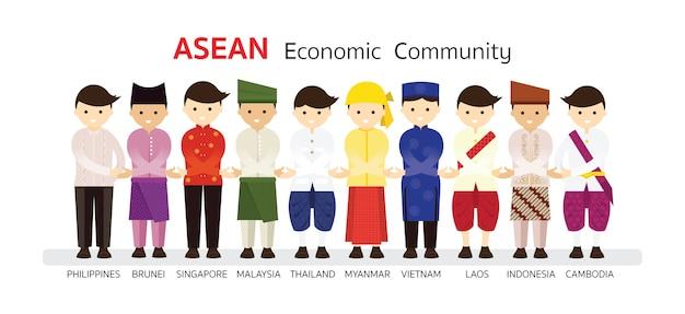 Südostasiatische menschen in traditioneller kleidung
