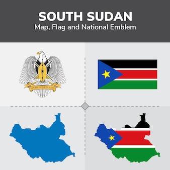 Südsudan karte, flagge und national emblem