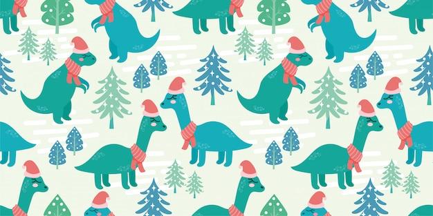 Süß dino tier nahtlose muster doodle dinosaurier winter