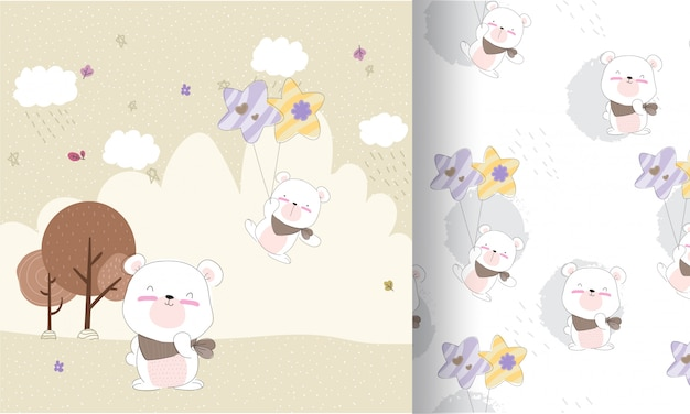 Süß glücklich bär fliegen nahtlose muster