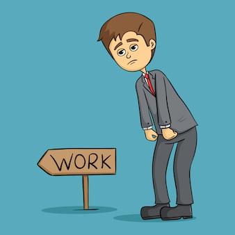 Süß müde geschäftsmann morgens zur arbeit gehen