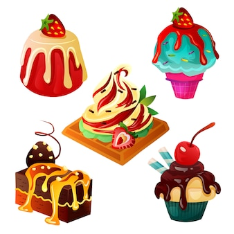 Süß- und dessertessen mit sahne oben drauf
