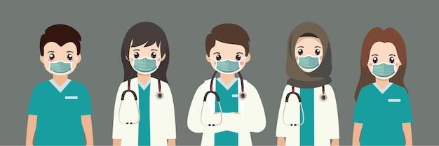 Süße ärzte und krankenschwestern tragen medizinische maske