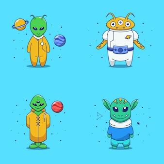 Süße alien-illustration im flachen design