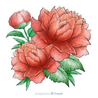 Süße aquarellkorallenblume