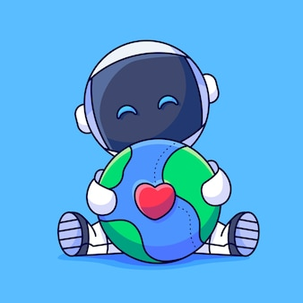 Süße astronauten umarmen die erde glückliche astronauten umarmen die erde süße astronauten umarmen die erde mit liebe