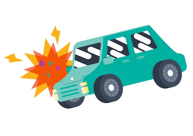 Süße auto stoßstange unfall unfall vektor