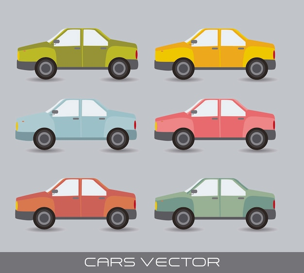 Süße autos über grauem hintergrund vintage-stil-vektor-illustration