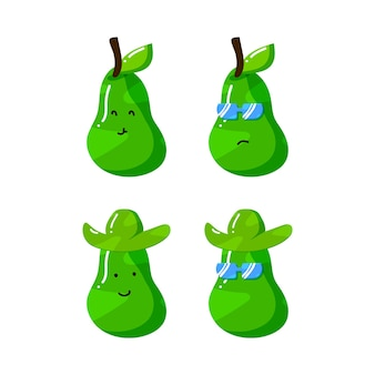 Süße avocado-cartoon-figur mit hut und sonnenbrille im flachen handgezeichneten stil
