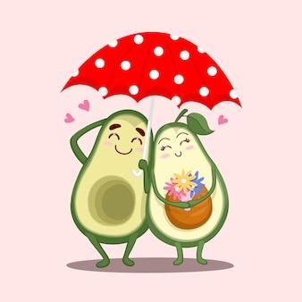Süße avocado-liebhaber mit regenschirm