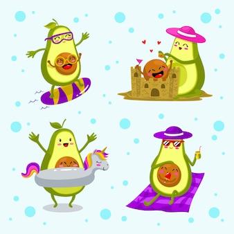 Süße avocado-mama mit ihrem baby, das am sommertag spielt
