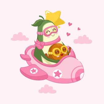 Süße avocado-mama mit ihrem baby steigt in ein flugzeug