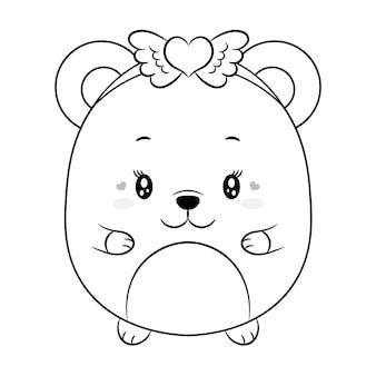 Süße baby-teddybär-zeichnungsskizze des glücklichen valentinstags zum färben