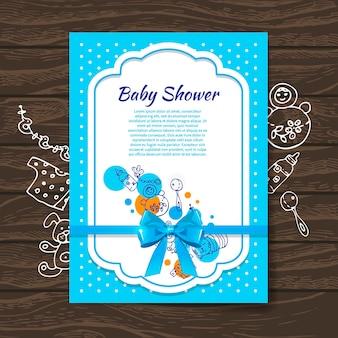 Süße babypartyeinladung mit doodle-babyspielzeug