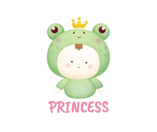 Süße babyprinzen im froschkostüm. maskottchen-karikaturillustration premium-vektor