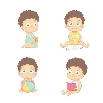Süße babys zeichnen mit bleistiften, spielen mit würfeln, mit einem ball, lesen ein buch.