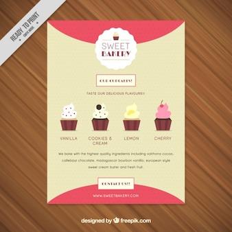 Süße bäckerei-flyer mit art von cupcakes