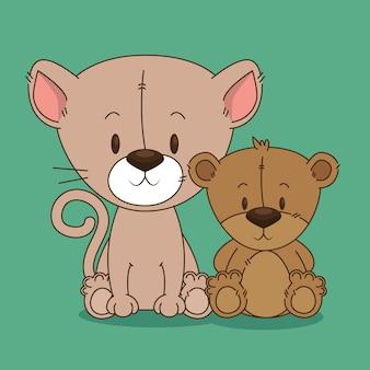 Süße bär teddy und katze zeichen