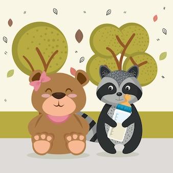 Süße bär und waschbär tierfiguren