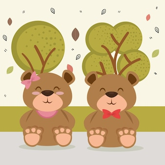Süße bären paar tierfiguren