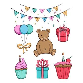 Süße bärenpuppe in geburtstagsfeier mit cupcake und geschenkbox