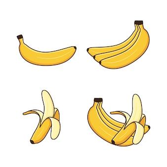 Süße bananenillustration mit umriss