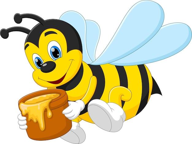 Süße biene der karikatur, die honig in einem eimer trägt