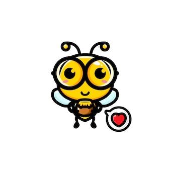 Süße biene, die honigkrug hält