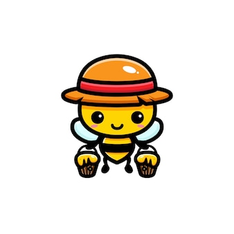 Süße bienen, die eimer voller honig ziehen