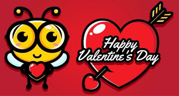 Süße bienen mit fröhlichen valentinstagsgrüßen