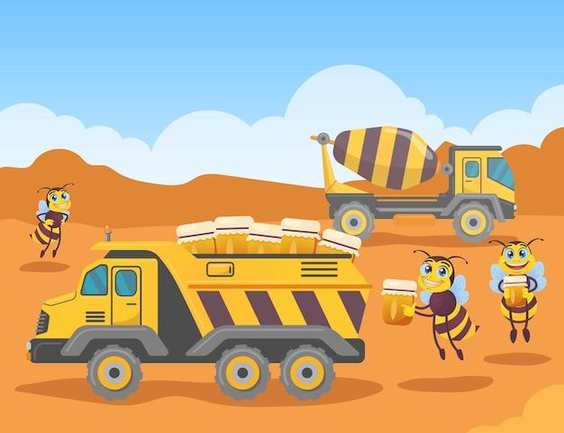 Süße bienenfiguren, die gläser mit honig in den lkw laden. schwarze und gelbe insekten mit flügeln auf baustellenkarikaturillustration Premium Vektoren