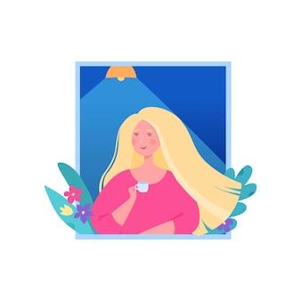 Süße blonde frau trinken kaffeetasse am morgen symbol. cartoon der süßen blonden frau trinken morgenkaffeetasse vektor-symbol für webdesign isoliert auf weißem hintergrund