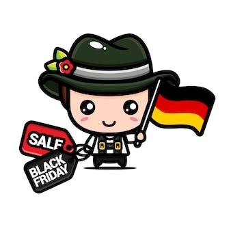 Süße bo mit deutscher flagge und schwarzem freitag rabatt