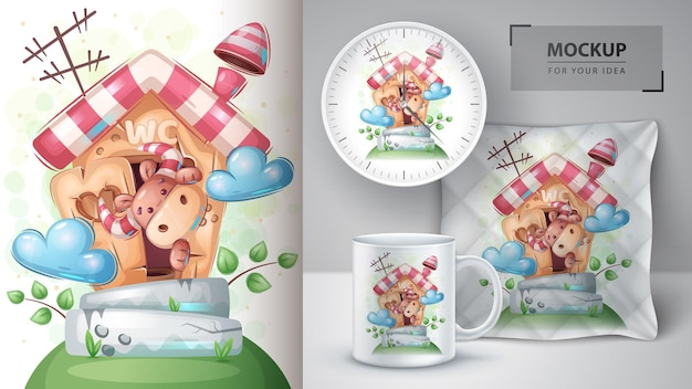 Süße box auf toilettenposter und merchandising