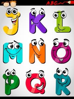 Süße buchstaben alphabet cartoon illustration