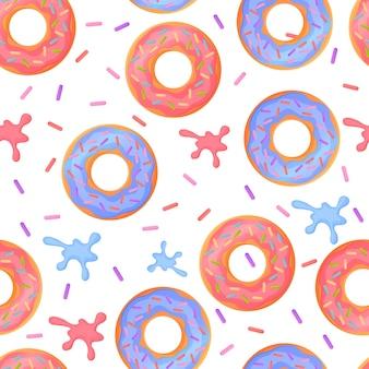 Süße bunte gebackene glasierte donuts oder donuts nahtloses muster mit streuseln und spritzern