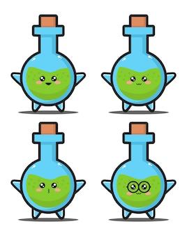 Süße cartoon-flasche chemie kawaii design premium