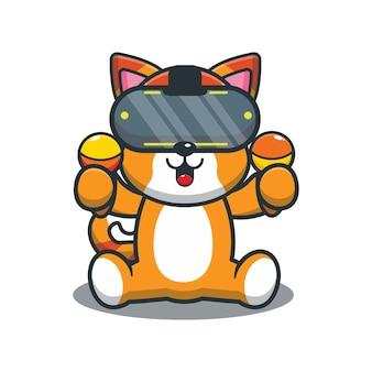 Süße cartoon-katze, die ein virtual-reality-spiel spielt