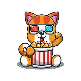 Süße cartoon-katze, die popcorn isst und einen 3d-film ansieht