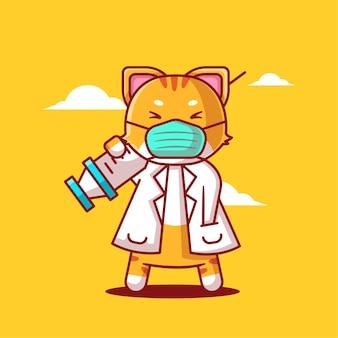 Süße cartoon-vektor-illustrationen katze hält impfstoff injizieren medizin und impfsymbol konzept