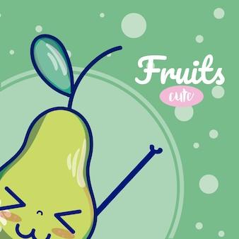 Süße cartoons der birne früchte