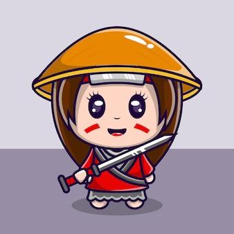 Süße charakterillustration samurai-mädchen mit schwert