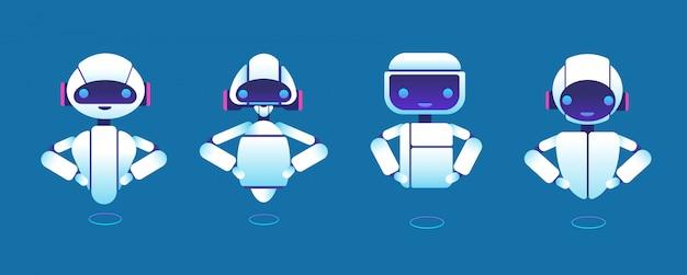 Süße chatbots. roboterassistent, chatter-bot, helfer-chatbot-zeichentrickfiguren