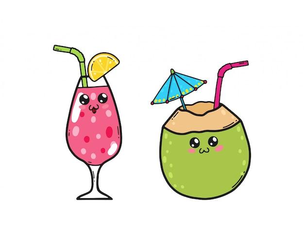 Süße cocktails im japanischen kawaii-stil. glückliche saft- und kokosnusscocktailzeichentrickfilm-figuren mit den lustigen gesichtern lokalisiert