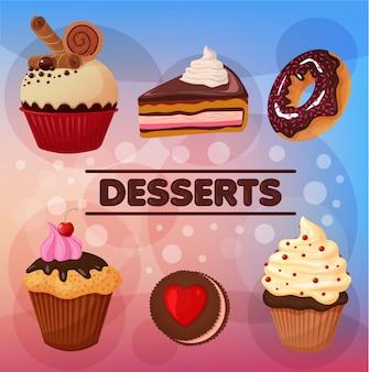Süße desserts eingestellt